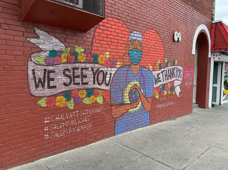 We See You. We Love You. We Thank You.  Commissioned chalk mural for The City of Salem #ChalkSaturdays in Salem, MA 2020