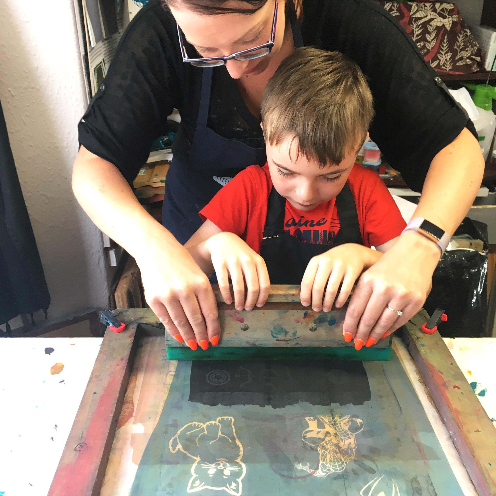 Adult and child screen print workshop