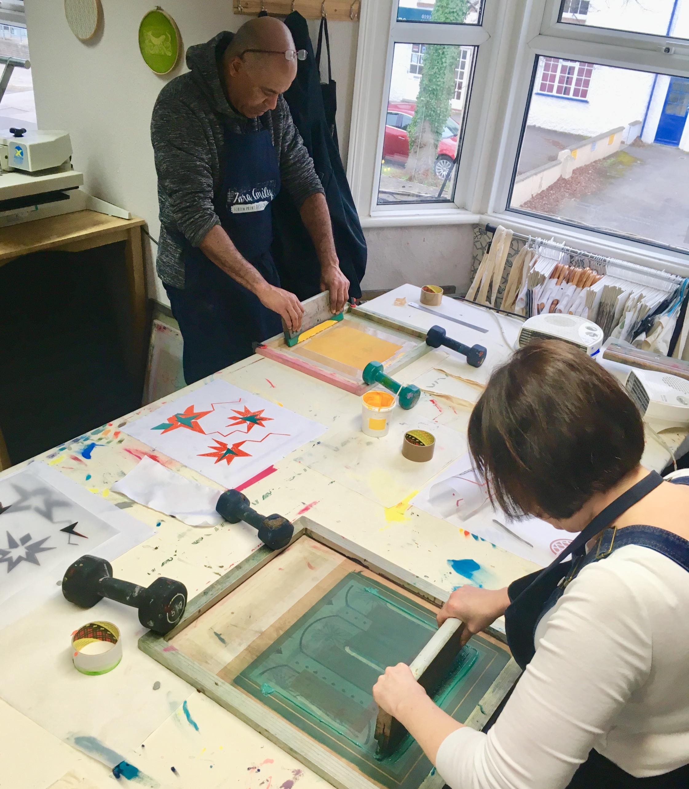 Adult screen printing workshop