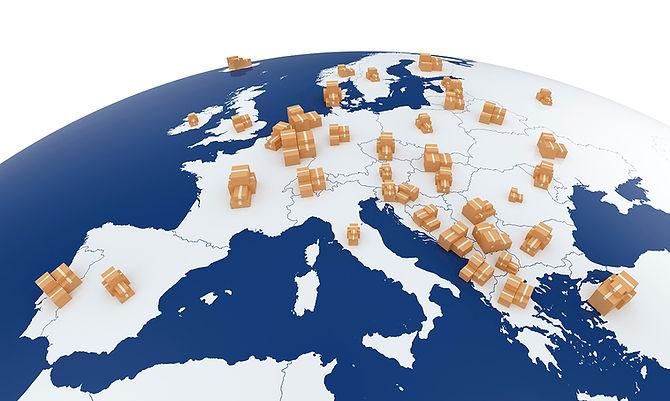 Europakarte, Pakete, Paketversand