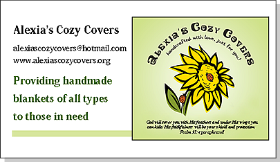 Alexia's Cozy Covers business card