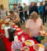 Volunteers at snack table
