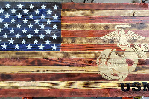 Wooden American Flags