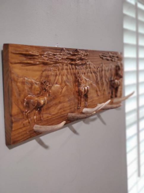 Deer Carved Lanscape w/ Deer Antler Coat Rack