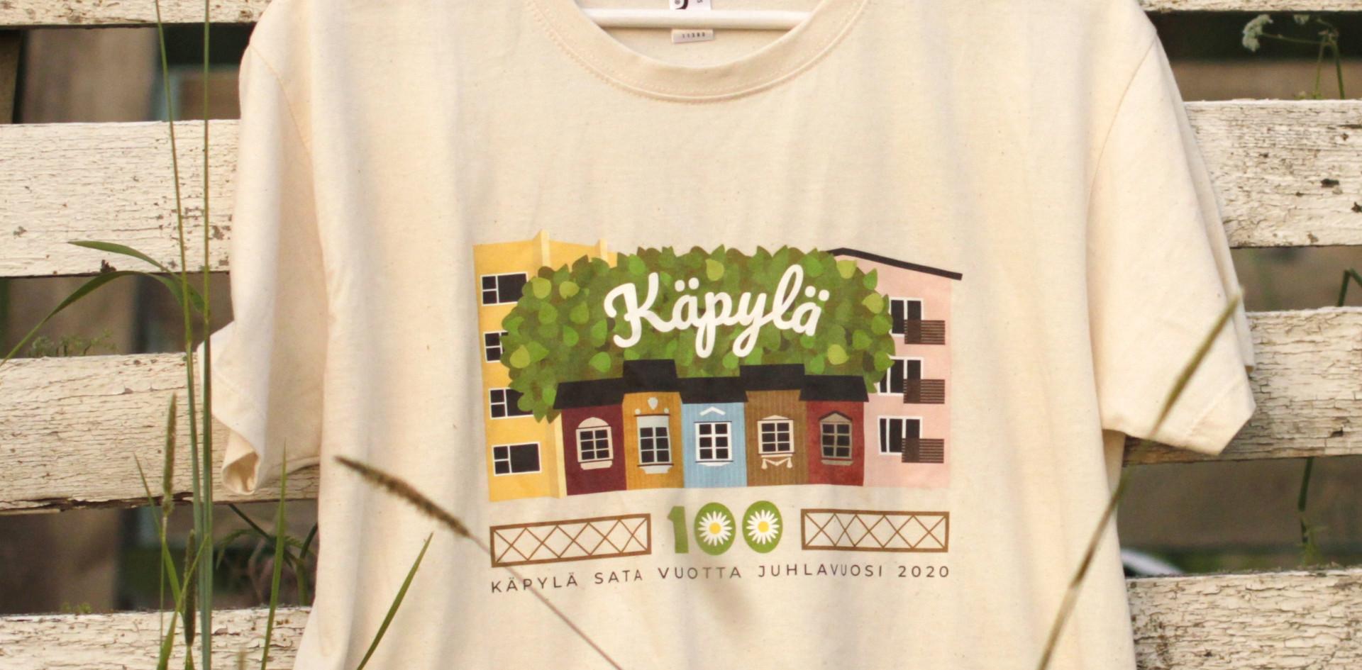 Luonnonvalkoinen Käpylä 100 -paita