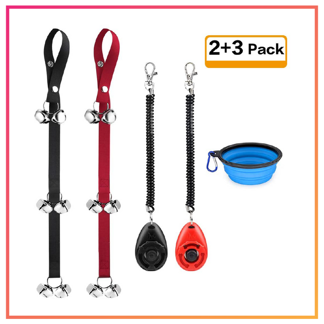 Dog Door Bell, Training Clickers, & Collapsible Bowl