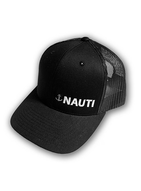 "Mens ""Nauti"" Retro Trucker Hat Black"