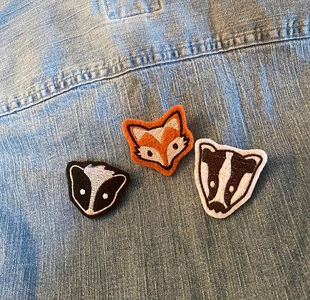 Cute Felt Embroidered Woodland Creature Pins