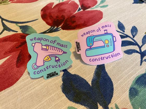 Glue Gun and Sewing Machine Weapons of Mass Construction Sticker Set