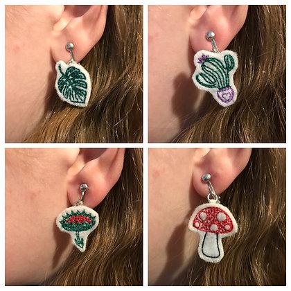 Cute Felt Embroidered Mushroom, Cactus, Monstera Leaf, or Venus Flytrap Earrings