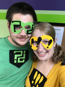 Arielle and Casey are punctuation-themed superheroes!