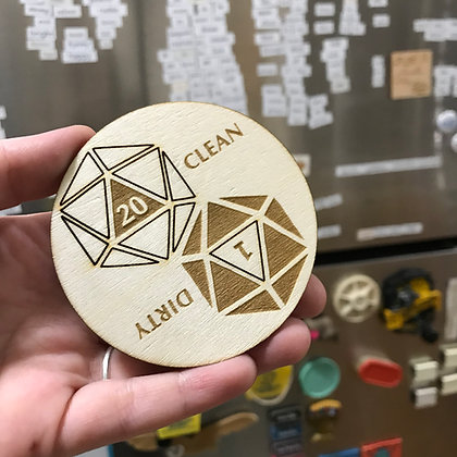 Clean / Dirty d20 Dishwasher Magnet