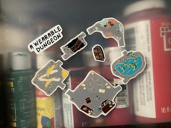A Wearable Dungeon Sticker Sheet