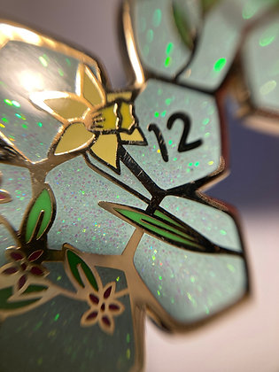 Dice Unfolded Enamel Pin d12