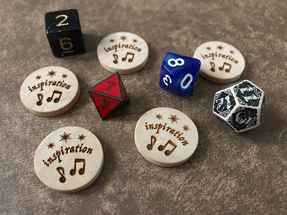 Wooden Reminder Tokens: Inspiration, Blessed, Luck