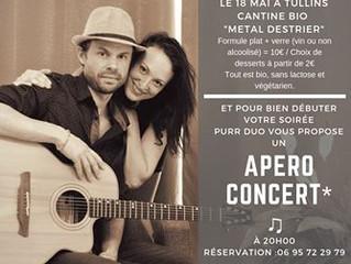 Apéro concert à la cantine bio samedi 18 mai 19