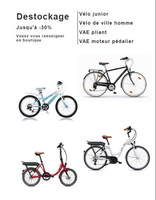 De haut en bas : Vélo ville Boulevard/Vélo junior Aurora/VAE VOG D8C/VAE PEPS