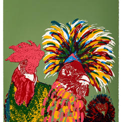 Kooky Chickens, silkscreen print, print-run 10, 56x38 cm, 2017