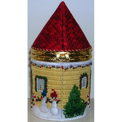 Round Christmas House Hinged Box