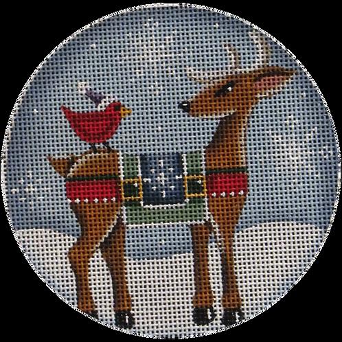 Reindeer and Cardinal Ornament