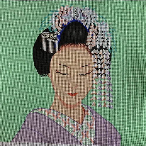 Geisha with comb and flowers