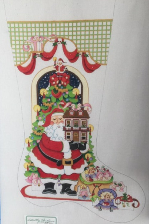 Santa with Gingerbread House Stocking