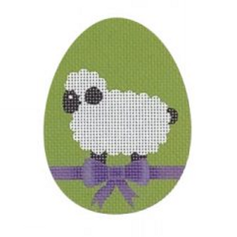 Lamb with Purple Bow Flat Egg
