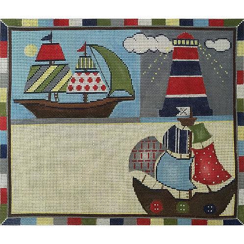Sailboats Nautical Birth Announcement