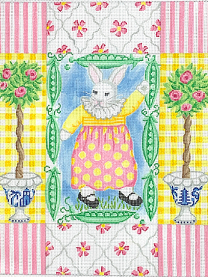 Girl Bunny with Peas and Topiaries