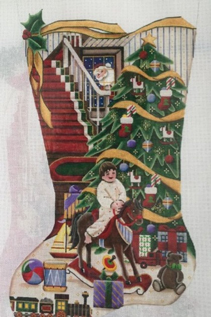 Boy on Rocking Horse Stocking