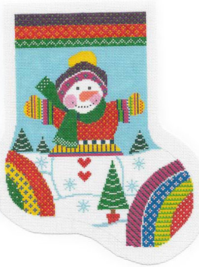 Rainbow Snowman Midsize Stocking