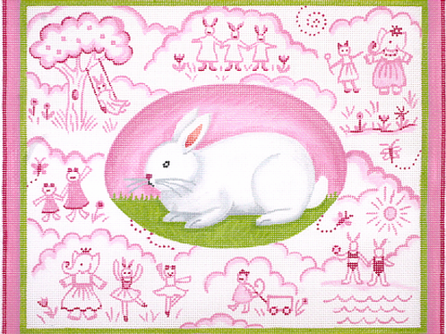 Pink Bunny Toile