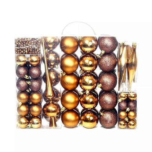 113-tlg. Weihnachtskugel-Set Braun/Bronze/Gold
