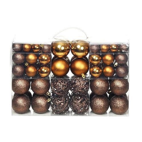 100-tlg. Weihnachtskugel-Set Braun/Bronze/Golden