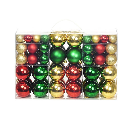 100-tlg. Weihnachtskugel-Set Rot/Gold/Grün