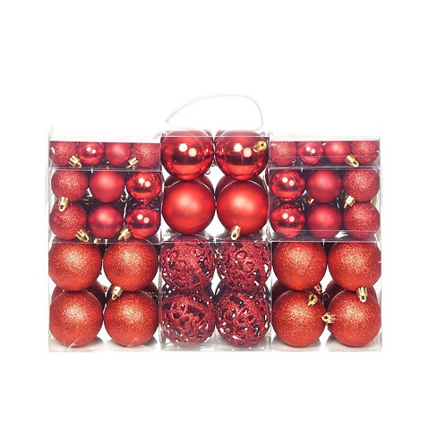 100-tlg. Weihnachtskugel-Set Rot