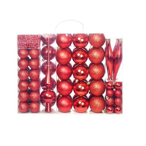 113-tlg. Weihnachtskugel-Set Rot