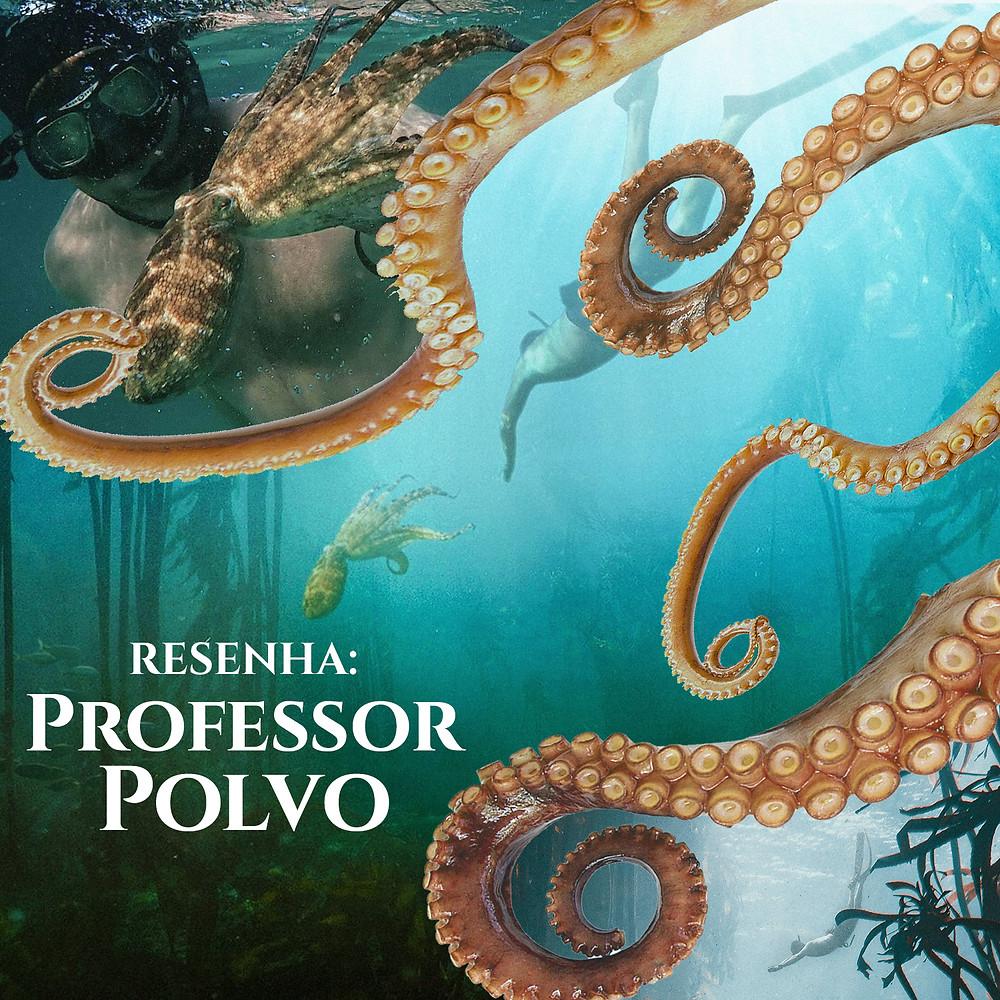 """É uma ilustração. No canto superior esquerdo, mostra um homem branco mergulhando ao lado de um polvo. No meio, mostra o fundo do mar e tentáculos de polvo. No canto inferior esquerdo, se lê """"Resenha: Professor Polvo"""". E no canto inferior direito, tem algas do fundo do mar."""