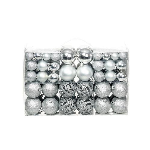 100-tlg. Weihnachtskugel-Set Silber