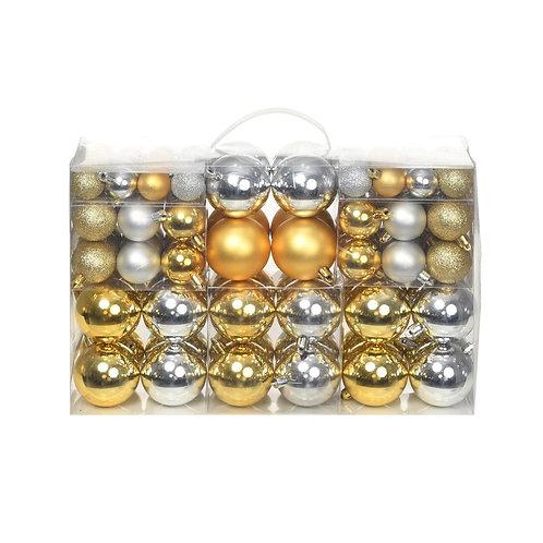 100-tlg. Weihnachtskugel-Set Silber/Gold