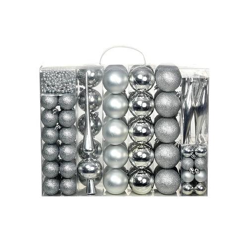 113-tlg. Weihnachtskugel-Set Silber