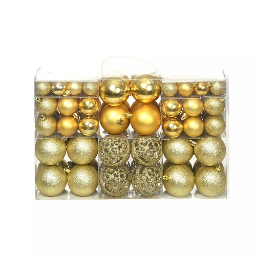 100-tlg. Weihnachtskugel-Set Gold