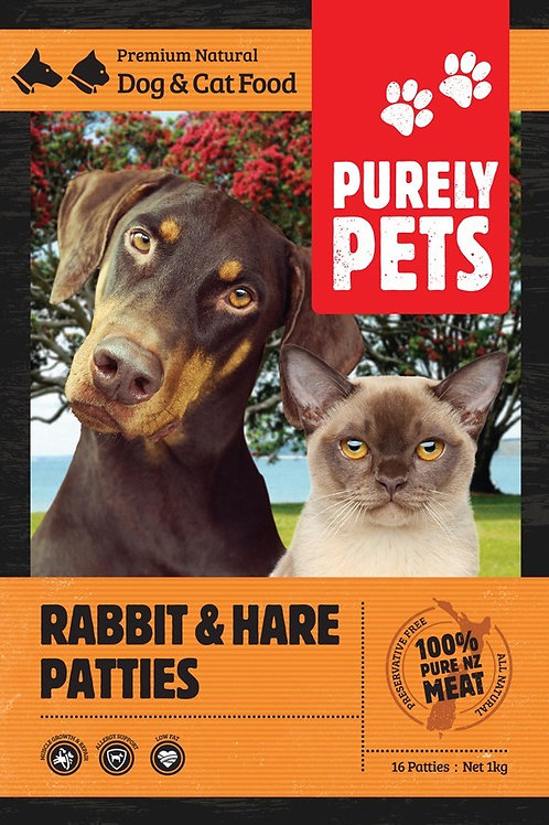 Purely Pets Rabbit & Hare Patties 1kg