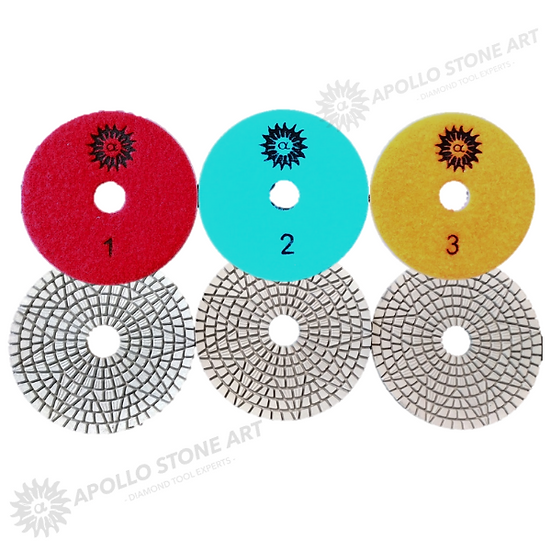 Apollo 3-Step Star Design Wet Polishing Pads