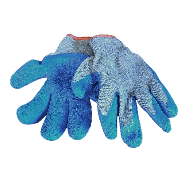 Blue Rubber Coated Gloves with Red Trim - Pair