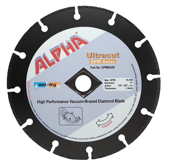 Alpha® Ultracut GPM Series Vacuum-Brazed Diamond Blade