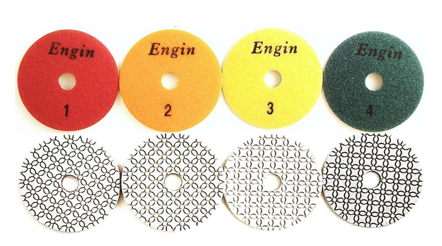 "4"" 4-Step Professional Wet Polishing Pads for Engineered Stone"
