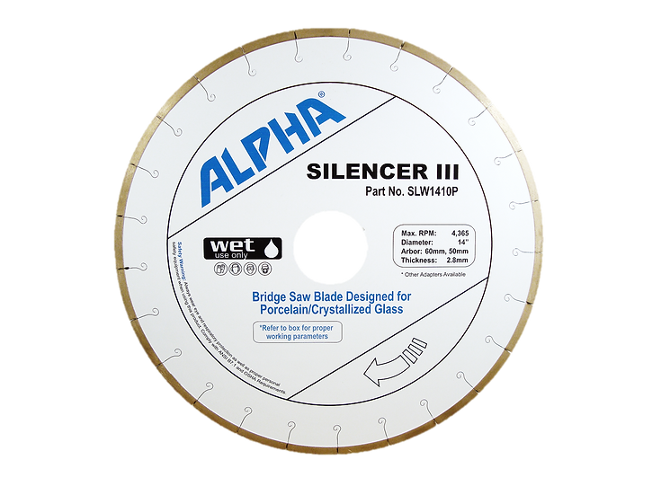 ALPHA Silencer III Porcelain Slab/Crystallized Glass Bridge Saw Blade