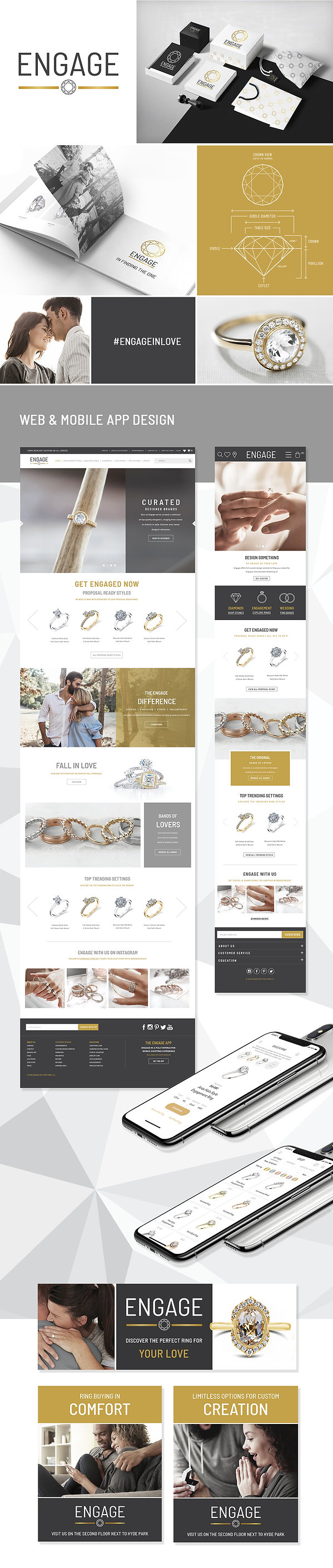 This image displays brandng, package, logo website, and app design done for Engage.