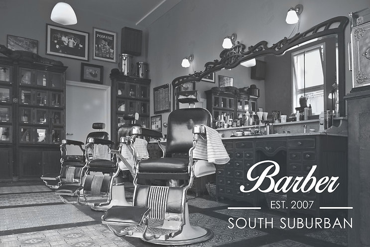 This image shows a barber chair and logo designed for South Suburban Barber.